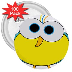 Bird Big Eyes Yellow 3  Buttons (100 Pack)  by Alisyart