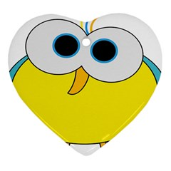 Bird Big Eyes Yellow Heart Ornament (two Sides)