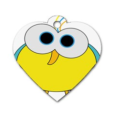 Bird Big Eyes Yellow Dog Tag Heart (two Sides)