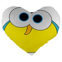 Bird Big Eyes Yellow Large 19  Premium Heart Shape Cushions by Alisyart