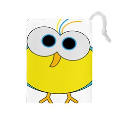 Bird Big Eyes Yellow Drawstring Pouches (large)  by Alisyart