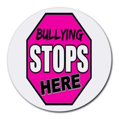 Bullying Stops Here Pink Sign Round Mousepads by Alisyart