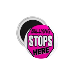 Bullying Stops Here Pink Sign 1 75  Magnets by Alisyart