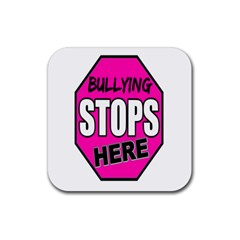 Bullying Stops Here Pink Sign Rubber Square Coaster (4 Pack)  by Alisyart