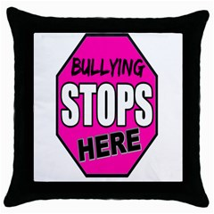 Bullying Stops Here Pink Sign Throw Pillow Case (black) by Alisyart