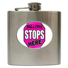 Bullying Stops Here Pink Sign Hip Flask (6 Oz)