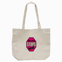 Bullying Stops Here Pink Sign Tote Bag (cream)