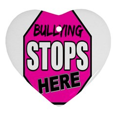Bullying Stops Here Pink Sign Heart Ornament (two Sides) by Alisyart