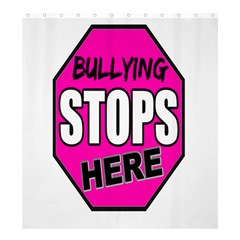 Bullying Stops Here Pink Sign Shower Curtain 66  X 72  (large)