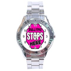 Bullying Stops Here Pink Sign Stainless Steel Analogue Watch by Alisyart
