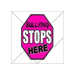Bullying Stops Here Pink Sign Acrylic Tangram Puzzle (4  X 4 )