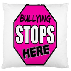 Bullying Stops Here Pink Sign Large Cushion Case (two Sides) by Alisyart
