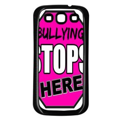 Bullying Stops Here Pink Sign Samsung Galaxy S3 Back Case (black) by Alisyart