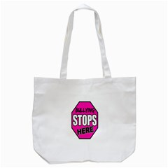Bullying Stops Here Pink Sign Tote Bag (white) by Alisyart