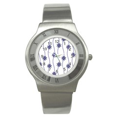 Geometric Flower Seamless Repeating Pattern With Curvy Lines Stainless Steel Watch