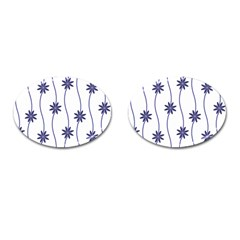 Geometric Flower Seamless Repeating Pattern With Curvy Lines Cufflinks (oval) by Simbadda