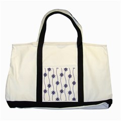 Geometric Flower Seamless Repeating Pattern With Curvy Lines Two Tone Tote Bag
