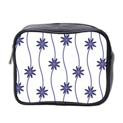 Geometric Flower Seamless Repeating Pattern With Curvy Lines Mini Toiletries Bag 2 Side