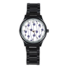 Geometric Flower Seamless Repeating Pattern With Curvy Lines Stainless Steel Round Watch