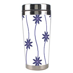 Geometric Flower Seamless Repeating Pattern With Curvy Lines Stainless Steel Travel Tumblers by Simbadda