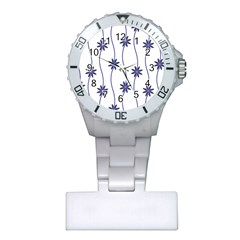 Geometric Flower Seamless Repeating Pattern With Curvy Lines Plastic Nurses Watch