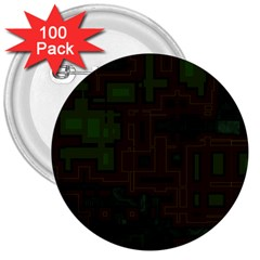 Circuit Board A Completely Seamless Background Design 3  Buttons (100 Pack)  by Simbadda