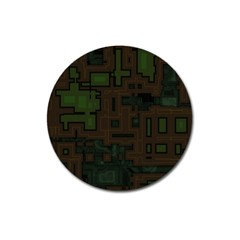 Circuit Board A Completely Seamless Background Design Magnet 3  (round)