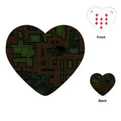 Circuit Board A Completely Seamless Background Design Playing Cards (heart)  by Simbadda
