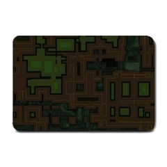 Circuit Board A Completely Seamless Background Design Small Doormat  by Simbadda