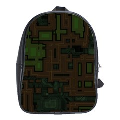 Circuit Board A Completely Seamless Background Design School Bags(large)  by Simbadda