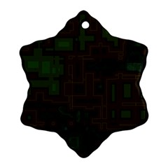 Circuit Board A Completely Seamless Background Design Snowflake Ornament (two Sides) by Simbadda