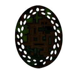 Circuit Board A Completely Seamless Background Design Oval Filigree Ornament (two Sides) by Simbadda