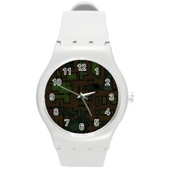 Circuit Board A Completely Seamless Background Design Round Plastic Sport Watch (m) by Simbadda