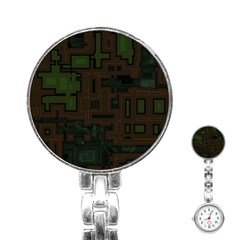 Circuit Board A Completely Seamless Background Design Stainless Steel Nurses Watch by Simbadda