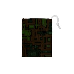 Circuit Board A Completely Seamless Background Design Drawstring Pouches (xs)  by Simbadda