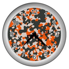 Camouflage Texture Patterns Wall Clocks (silver)