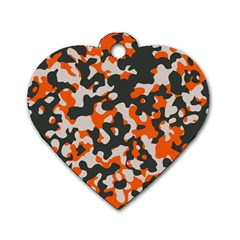 Camouflage Texture Patterns Dog Tag Heart (one Side) by Simbadda