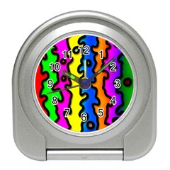 Digitally Created Abstract Squiggle Stripes Travel Alarm Clocks by Simbadda