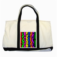 Digitally Created Abstract Squiggle Stripes Two Tone Tote Bag by Simbadda