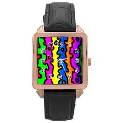 Digitally Created Abstract Squiggle Stripes Rose Gold Leather Watch