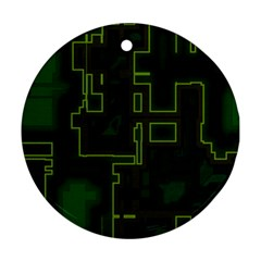 A Completely Seamless Background Design Circuit Board Ornament (round) by Simbadda