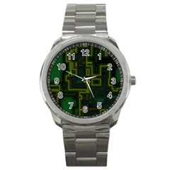 A Completely Seamless Background Design Circuit Board Sport Metal Watch by Simbadda