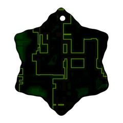 A Completely Seamless Background Design Circuit Board Ornament (snowflake) by Simbadda