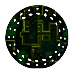 A Completely Seamless Background Design Circuit Board Round Filigree Ornament (two Sides) by Simbadda