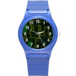 A Completely Seamless Background Design Circuit Board Round Plastic Sport Watch (S) Front
