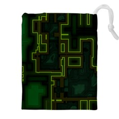 A Completely Seamless Background Design Circuit Board Drawstring Pouches (xxl) by Simbadda