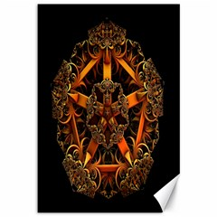 3d Fractal Jewel Gold Images Canvas 12  X 18   by Simbadda