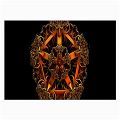 3d Fractal Jewel Gold Images Large Glasses Cloth (2 Side) by Simbadda