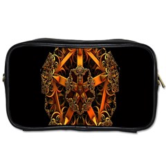 3d Fractal Jewel Gold Images Toiletries Bags 2 Side by Simbadda