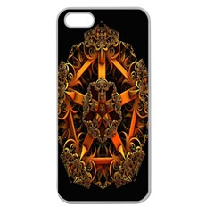 3d Fractal Jewel Gold Images Apple Seamless Iphone 5 Case (clear) by Simbadda